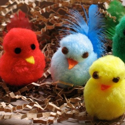spring craft idea: colorful pom pom chicks