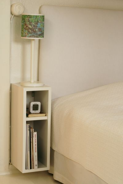 bedside table DIY – this could also be super narrow space in the living room end