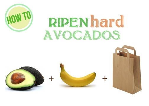Just place your avocados in a brown paper bag with a banana, fold the bag over,