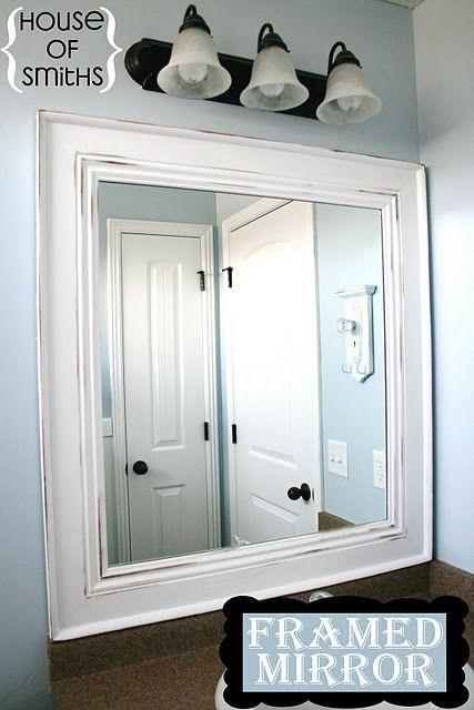 Tutorial on framing a bathroom mirror.  No nails!
