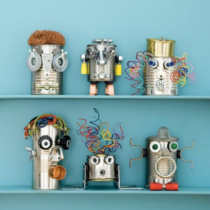 Recycled Art! cans, big or small… tin or aluminum…. wires, old phone cords f
