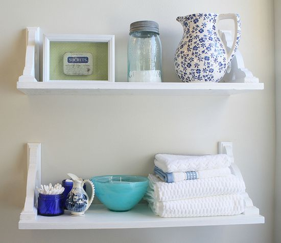 bathroom shelving DIY – so easy and functional. This would work perfect in my ma