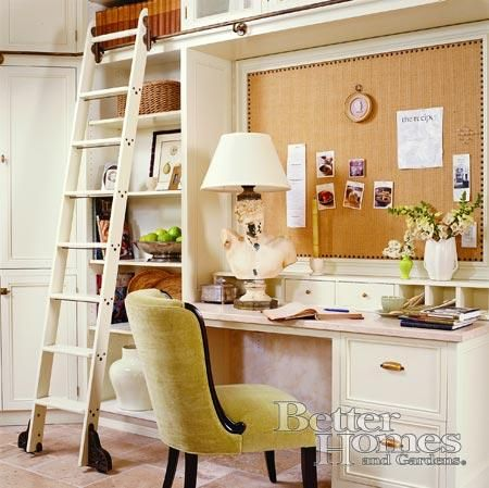 Love the small office design with the ladder system, and a great DIY Corkboard I