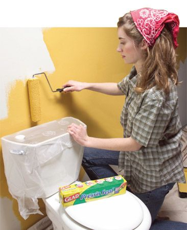 Plastic cling wrap instead of taping everything when painting- so much easier!