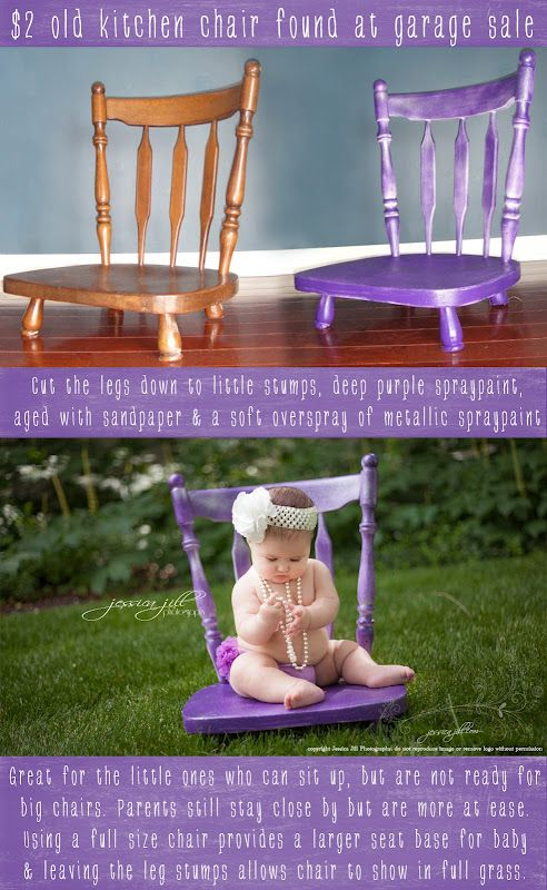 Recycled Chair into a Baby Chair. I love the idea. And heck it doesn't have