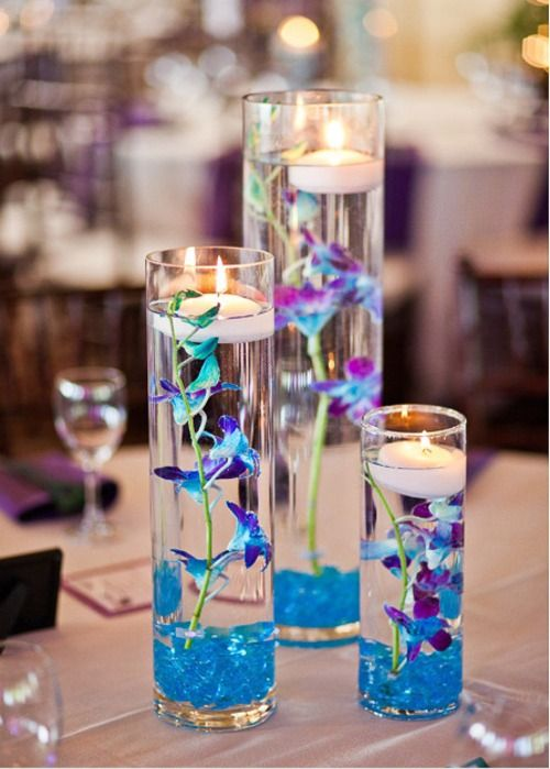 blue and purple wedding centerpieces | Centerpiece Options – Light Blue/Purple W