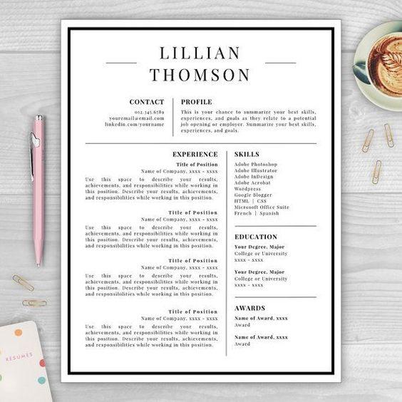 Resume Cover Letter Modern Resume Professional Resume