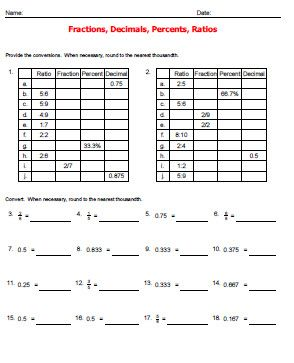 Fractions Decimals And Percents Worksheets Grade 7