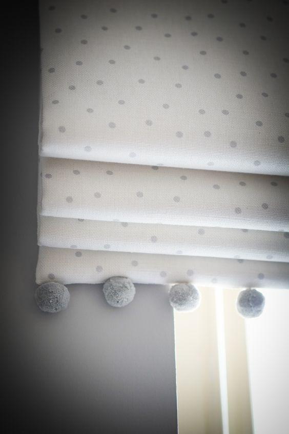 Beautiful Nursery Using Flohr Amp Co Fabrics Wwwflohrandcocom Roman Blind With Pom Poms