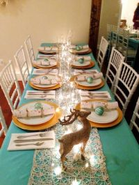 Christmas Decor & Table setting ideas using teal white and ...