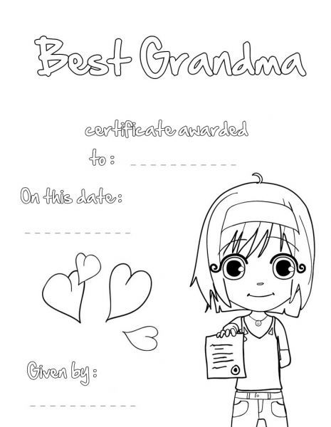 Card For Grandma On Mothers Day Coloring Pages Printable