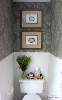Our Stenciled Bathroom Budget Makeover Reveal | Toilet ...