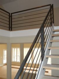 Metal stair rail -something like this with a wooden ...