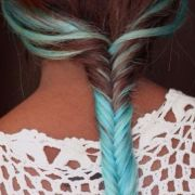 ponytail with teal blue neon dye