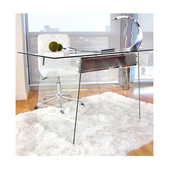 Gibson Contemporary Glass Desk Unique Modern Glass Desk