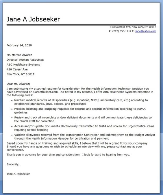 Example Cover Letter Receptionist