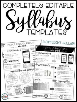 Syllabus Editable {8 Different Editable Syllabus