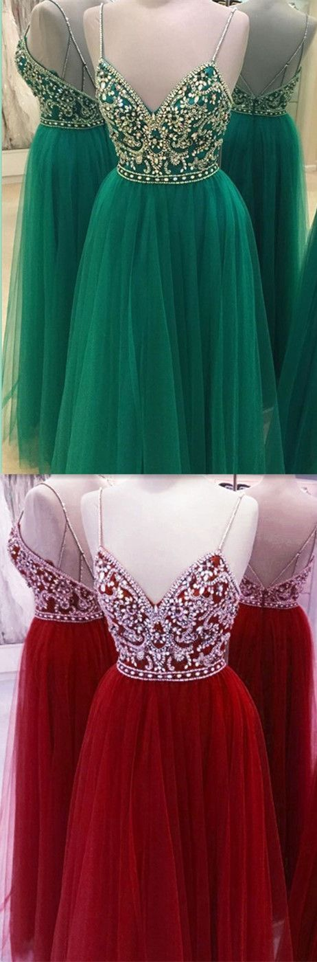 Spaghetti Straps Beading Handmade Prom Dress,Long Prom Dresses,Prom Dresses,Evening Dress, Prom Gowns, Formal Women Dress,prom dress: