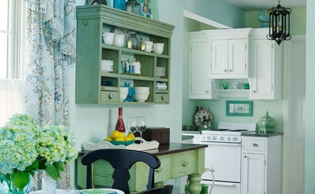 Tiny Functional Kitchen Small Lake Cottage With Turquoise