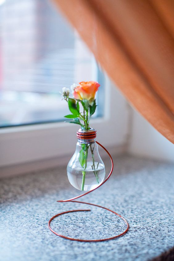 Vintage Vase from Recycled Light Bulb by ExclusiveDesignArt: