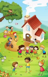 kids playing on playground cartoon - Google Search | mural ...