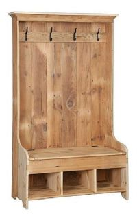 Reclaimed Barn Wood Hall Tree Coat Rack With Cubby Storage ...