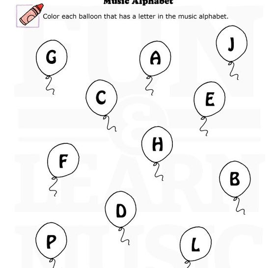 Fun music worksheet for learning the music alphabet. Let's