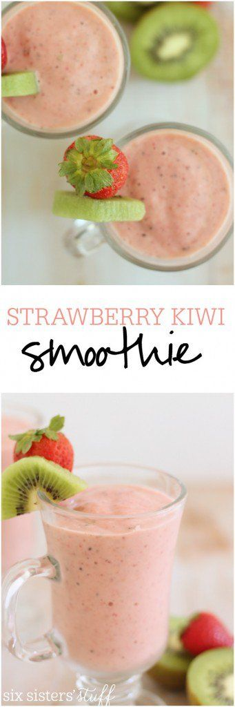 Strawberry Kiwi Smoothies Recipe via Six Sisters' Stuff - This simple strawberry kiwi smoothie makes a great snack or delicious breakfast!