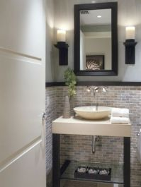half bath tile ideas | Half Bathroom Designs brick tiles ...