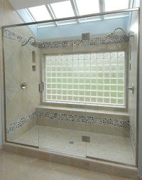 Bathtub to shower conversion - glass block window with two ...