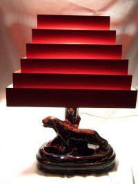 Vintage RETRO 1950's BLACK PANTHER TV LAMP w/ RED SHADE ...