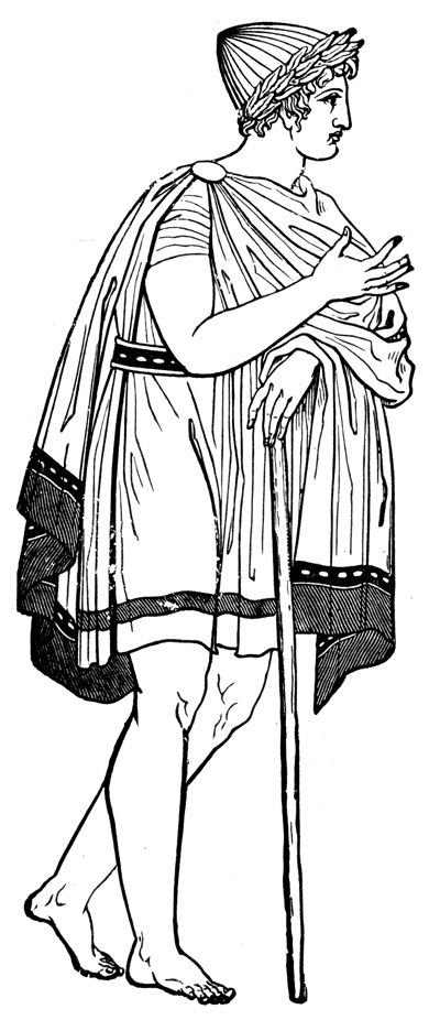 Ancient Greek Costume- This drawing shows a man wearing a