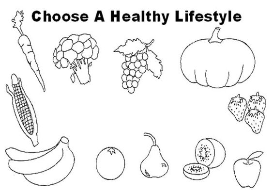Healthy food, Coloring pages and Coloring on Pinterest