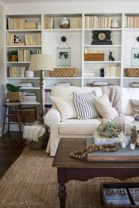 Cozy cottage living room. Wall to wall bookshelves ...