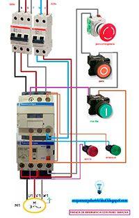 Esquemas eléctricos: Arranque y parada con paro de emergencia motor tri | Esquemas eléctricos