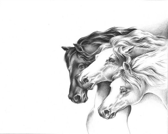 Three Victorian Horses Art Print from Original by
