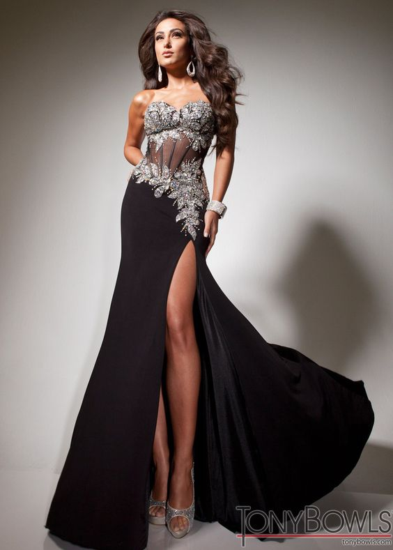 Super Sultry Black Gown with Silver Beading and Corset Bodice  Black Prom Dress  Tony Bowls