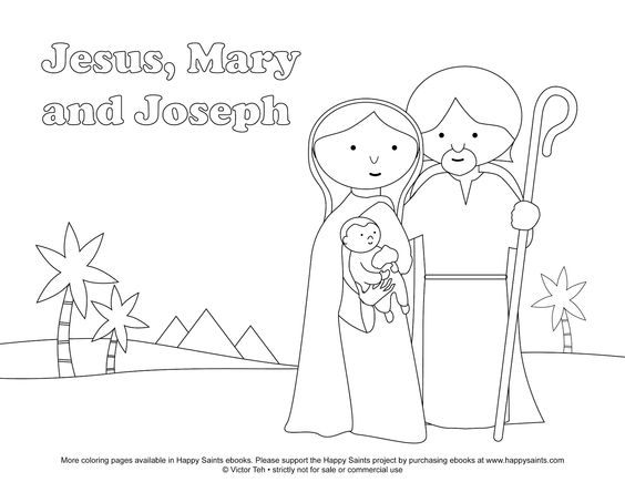 Happy Saints: Free Coloring Page of the Holy Family