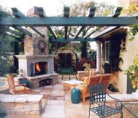 fireplace, pergola, patio
