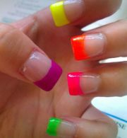 'neon french' nails pinteres