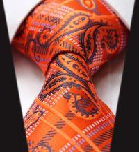 Men Necktie orange blue paisley ties, men ties, wedding ...
