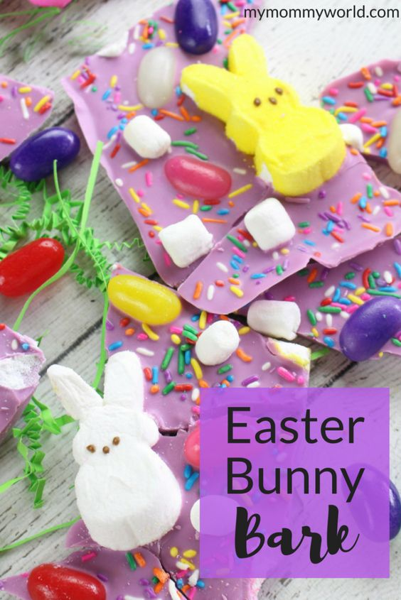 Make this Easy Easter Bark Recipe to delight the kids on Easter morning. This jellybean Easter bark also has cute bunny peeps and colorful sprinkles that really make it feel festive. It only takes about 5 minutes to throw together, but everyone will think you spent a lot of time making this easy Easter bark!: