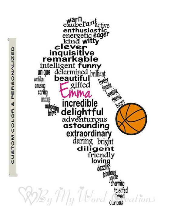 Basketball Player Art, Girl Basketball Player Word Art
