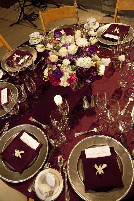 Rich Burgundy And Silver Wedding Tablescape With Gold