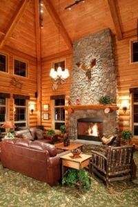 Vaulted ceiling, log cabin interior, floor-to-ceiling ...