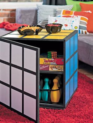 Game Room Decor Rubiks Cube Storage Coffee Table Ottoman Twister Bowling Door Cabinet Decoration