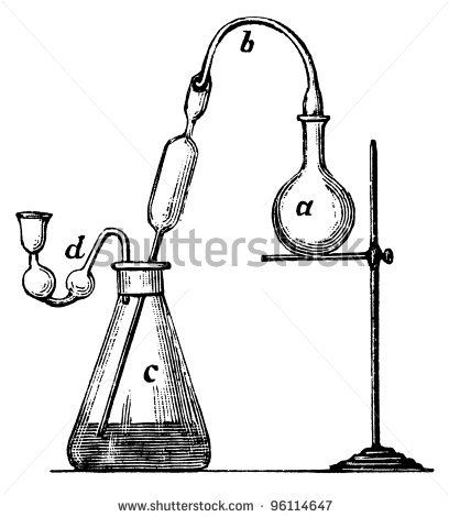 Old Chemical Laboratory Equipment Illustration Engraving