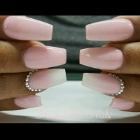 Ombre pink, pink, coffin nails, swarovski crystals ...