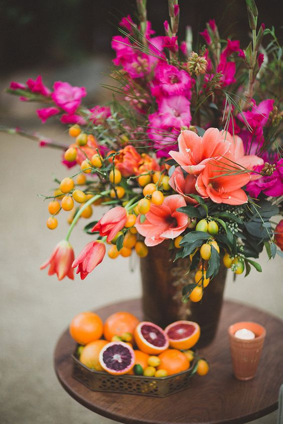 Bright floral centerpiece: