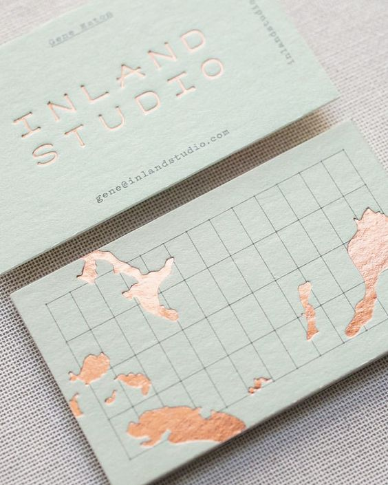 Travelers business cards with copper foil